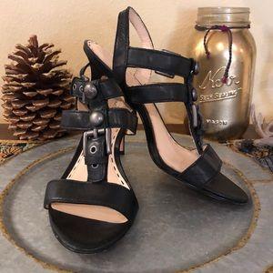 "Coach black strap 3"" heels size 8"